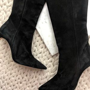 Brian Atwood Shoes - Brian Atwood Black Suede Heeled Tall Boots